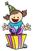 Birthday Girl Got a Present - Vector Illustrations — Stock Vector