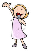 Küçük kız şarkı - vektör karikatür çizim — Stok Vektör