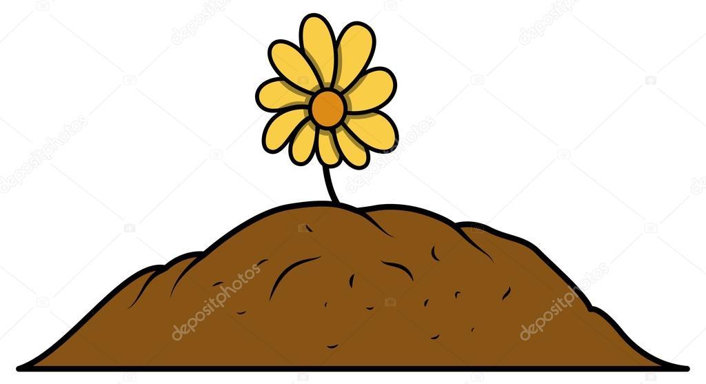 Planta de flor cultivada en suelo vector de stock for Suelo organico dibujo animado