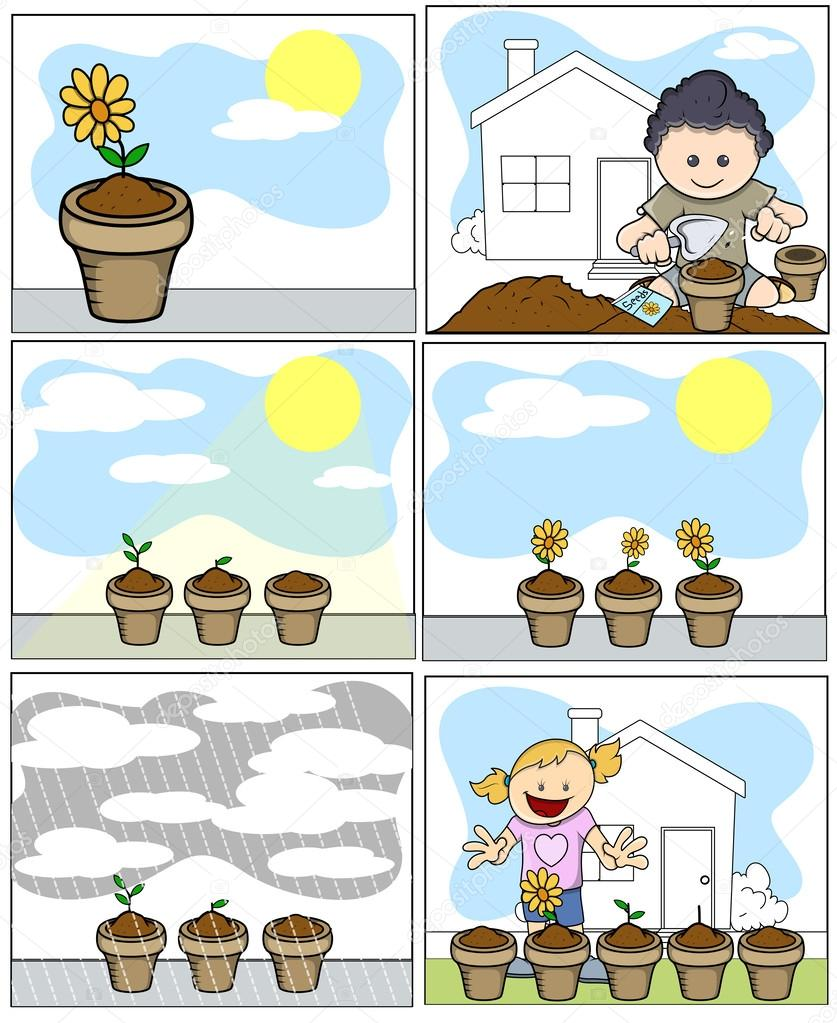 Flowering Plant Drawing Drawing Art of Flowers Pots in Garden And Kid Planting Flowers in Garden