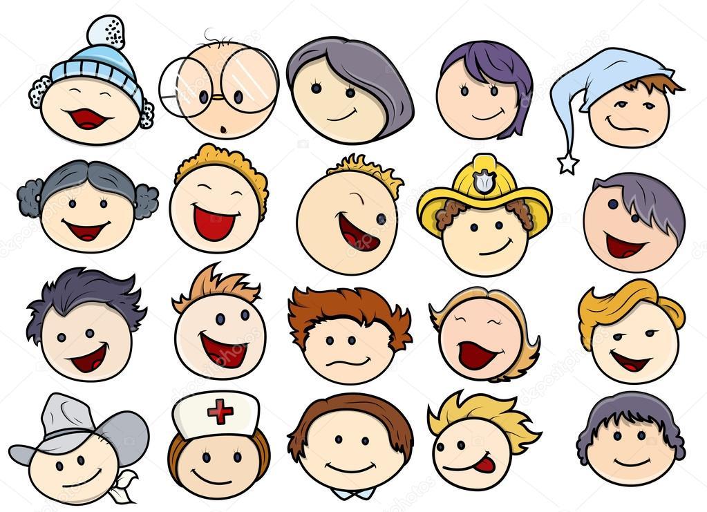 varias caras sonrientes y felices los niños — Vector stock © baavli #