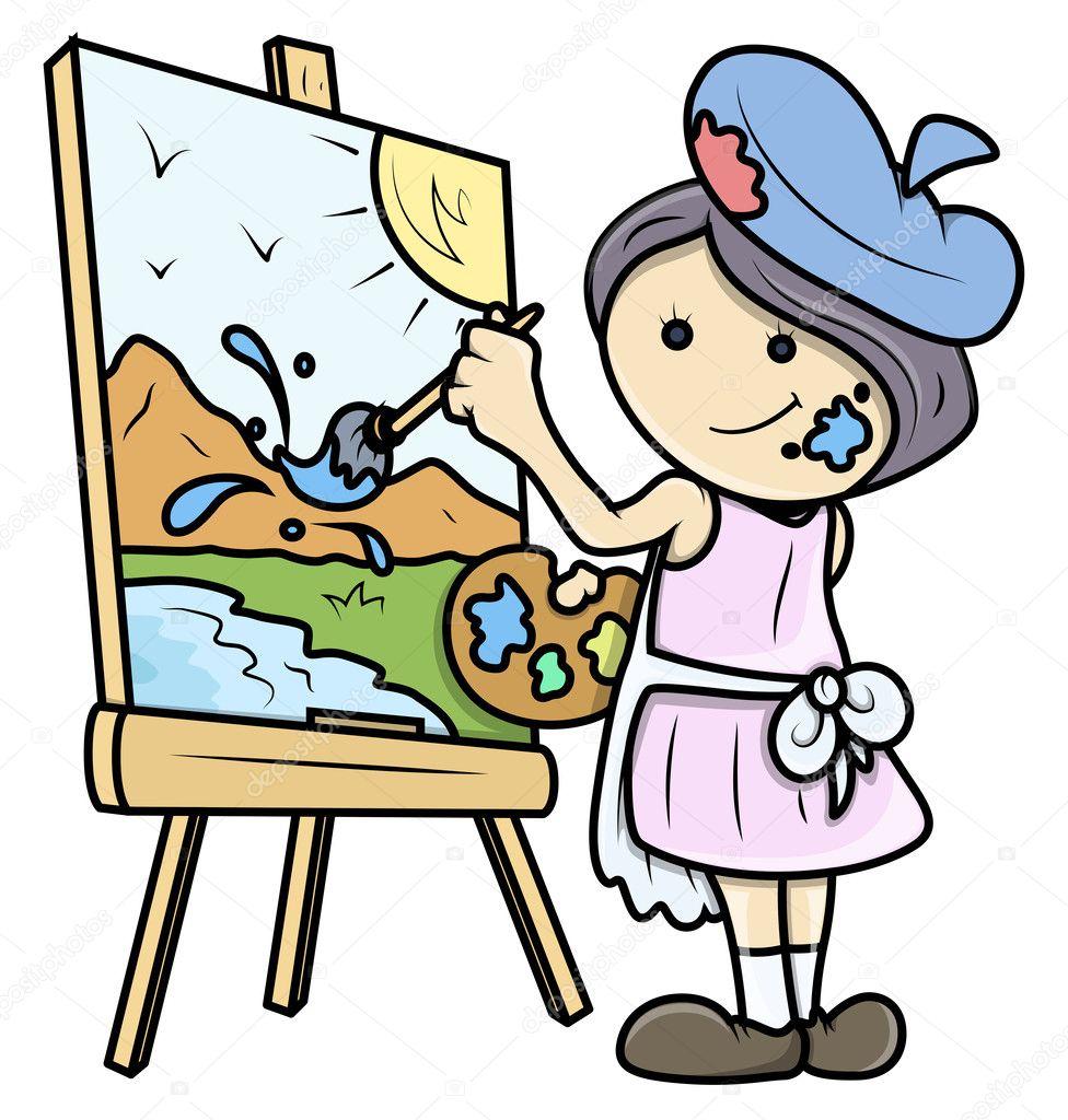 cartoon girl painting a landscape on canvas vector art easel clip art for visio Paint Brush Clip Art