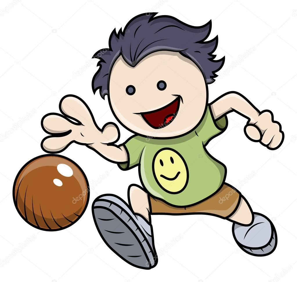 卡通小孩男孩玩篮子球运动矢量图