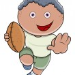 Постер, плакат: Little Boy Playing Rugby Vector Cartoon Illustration