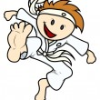 Kid Doing Karate - Vector Cartoon Illustration — Stock Vector