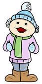 Girl Kid in Winter Cloths - Vector Cartoon Illustration — Stock Vector