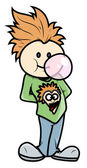 Stylish Boy Blowing Bubble Gum - Vector Cartoon Illustration — Stock Vector