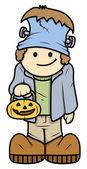 Kid in Halloween Costume - Vector Cartoon Illustration — Stock Vector
