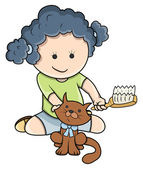 Small Girl Giving Bath To Cat - Vector Cartoon Illustration — Stock Vector