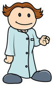Kid Pretending to Be a Doctor - Vector Cartoon Illustration — Vector de stock