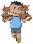 Little Kid Playing with Kittens - Vector Cartoon Illustration — Stock Vector