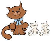 Cute Cartoon Cat with Kittens - Vector Cartoon Illustration — Stock Vector