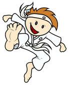 Kid Doing Karate - Vector Cartoon Illustration — Stock Vector