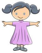 Cute Little Doll - Vector Cartoon Illustration — Stock Vector