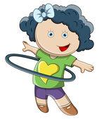 Bambina facendo hula hop - illustrazione fumetto vettoriale — Vettoriale Stock