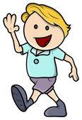 Happy Boy Walking - Vector Cartoon Illustration — Stock Vector