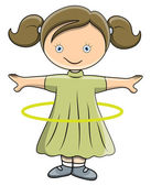 Girl Doing Hula Hoop - Vector Cartoon Illustration — Stock Vector
