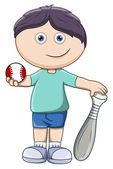 Kid with Baseball and Bat - Vector Cartoon Illustration — Stock Vector