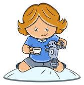 Robot - vektör karikatür çizim ile oynarken küçük kız — Stok Vektör
