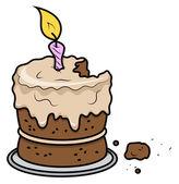 Cartoon Birthday Cake - Vector Cartoon Illustration — Stock Vector