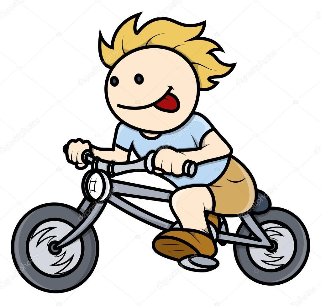 Ragazzo in sella sulla bici illustrazione fumetto