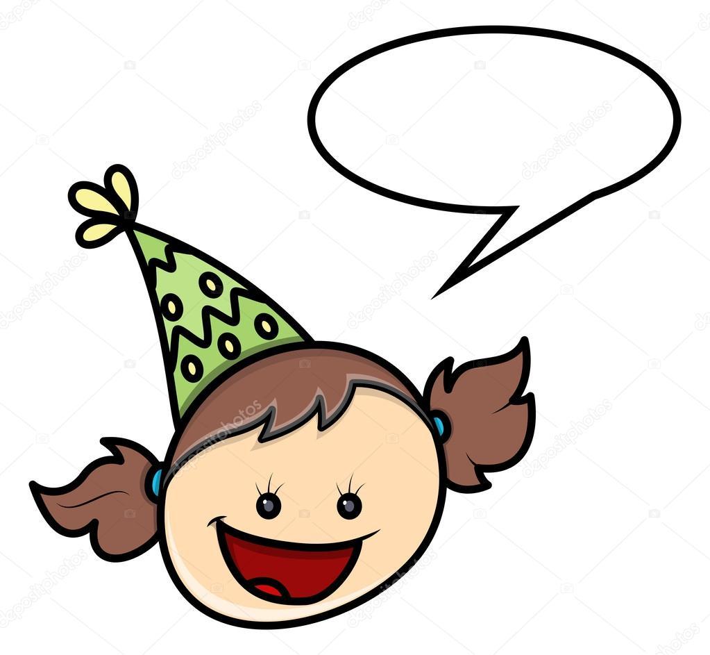 可愛的卡通快樂淘氣的女孩笑著臉表達與演講氣泡矢量