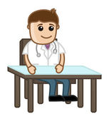 Doctor in Clinic - Medical Cartoon Characters — Stock Vector