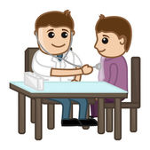 Doctor Check Up Patient - Medical Cartoon Characters — Stock Vector