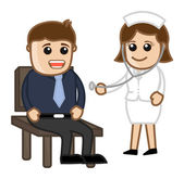 Nurse Checking Patient - Medical Cartoon Characters — Stock Vector