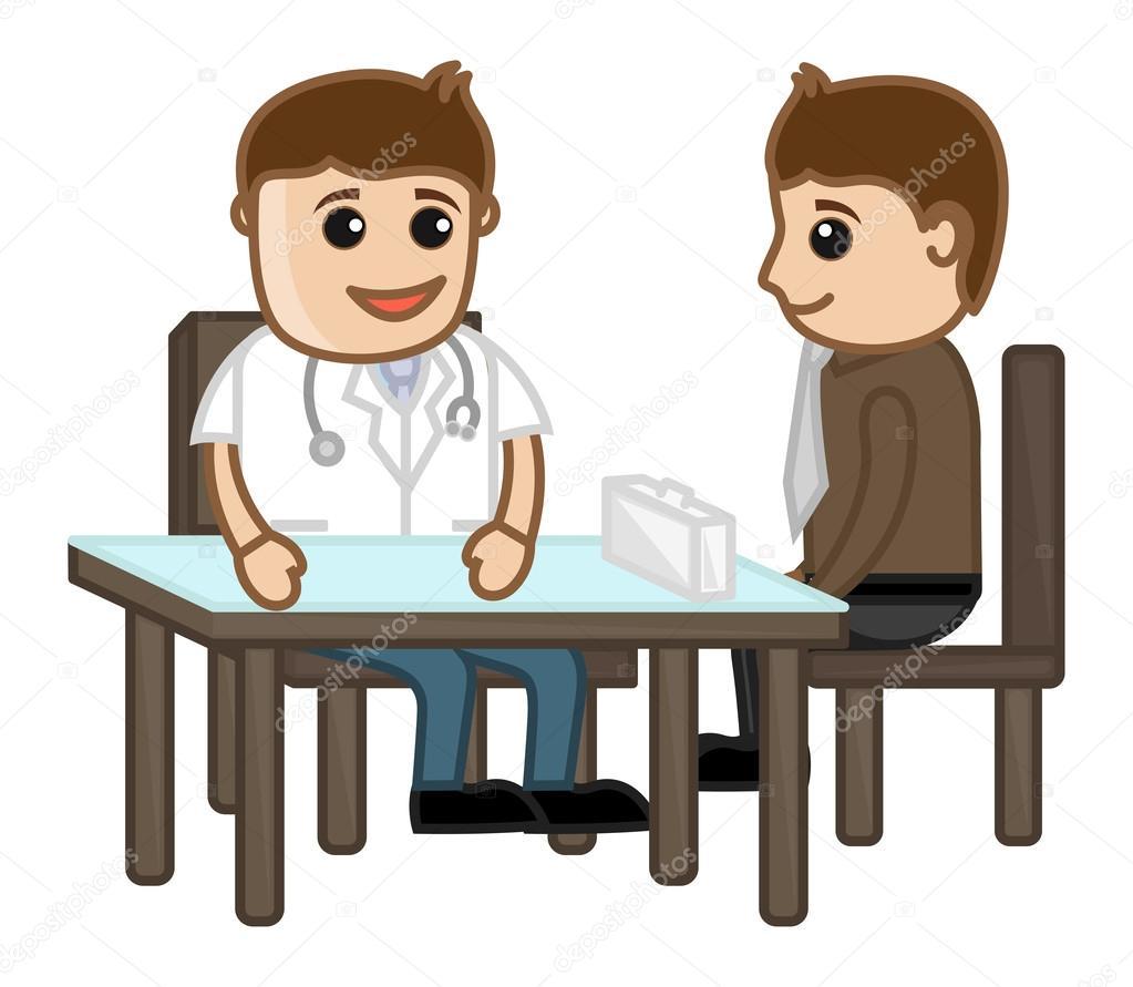 Consulenza medica cartoni animati — vettoriali stock