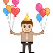 Man with Lots of Balloons - Cartoon Business Character — Stock Vector #28929649