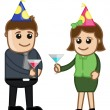 Man and Woman Having Drink in Business Party Celebration — Stock Vector