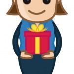 Signora holding scatola regalo - cartone animato di affari — Vettoriale Stock