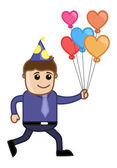 Man with Balloons in Party - Cartoon Business Character — Stock Vector