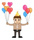 Man with Lots of Balloons - Cartoon Business Character — Stock Vector