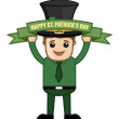 Man Holding a Banner Saying - Happy St. Patrick's Day - Cartoon Business Characters — Stock Vector