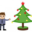 Stock Vector: Man with Xmas Tree on Christmas - Cartoon Business Characters