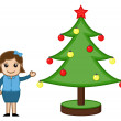 Stock Vector: Office Lady with Xmas Tree on Christmas - Cartoon Business Characters