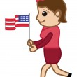 Patriotic Lady with USA Flag on 4th of July - Cartoon Business Characters — Stock Vector