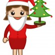 Female Santa Presenting Xmas Tree - Cartoon Business Characters — Stock Vector