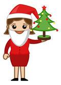 Female Santa Presenting Xmas Tree - Cartoon Business Characters — Stock Vector