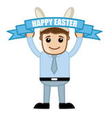 Happy Easter Celebration - Cartoon Business Characters — Stock Vector