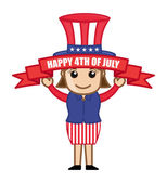 Happy 4th of July - Cartoon Business Characters — Stock Vector