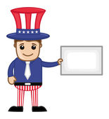 Uncle Sam Holding Blank Banner - Business Cartoon Characters — Stock Vector