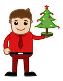 Christmas Tree Decoration - Business Cartoon Characters — Stock Vector