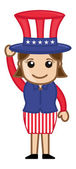 Cute Female Uncle Sam Character - Business Cartoon Characters — Stock Vector