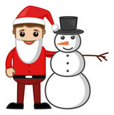 Santa with Snowman - Business Cartoon Characters — Stock Vector