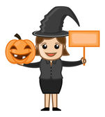 Happy Halloween - Witch - Business Cartoon Characters — Stock Vector