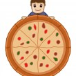 Pizza - Cartoon Business Vector Character — Stock Vector