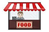 Tienda de alimentos - personaje de dibujos animados negocios vector — Vector de stock